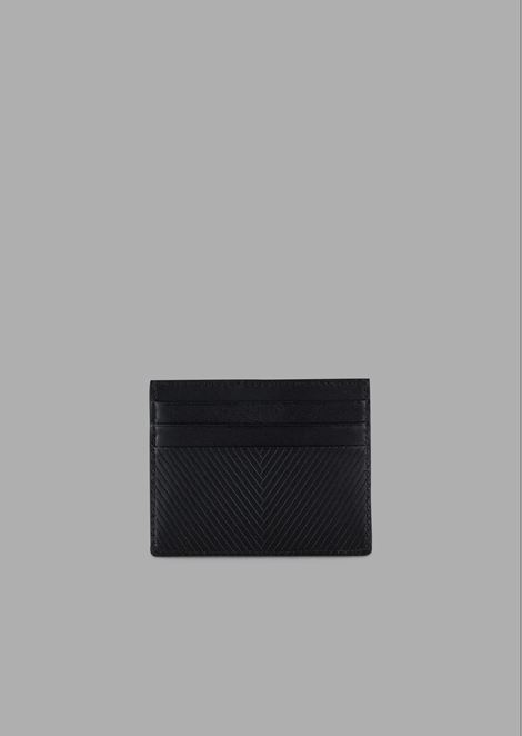 Leather card holder in chevron-embossed leather with tonal logo