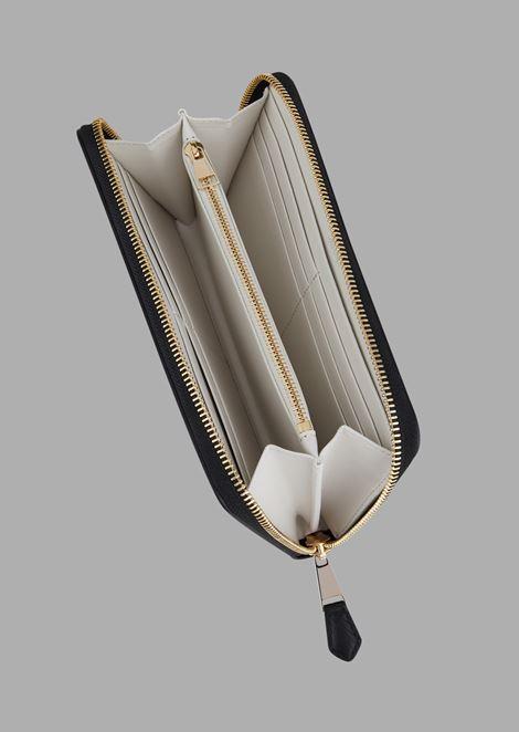 Кошелек на молнии из кожи с принтом шеврон и логотипом в тон