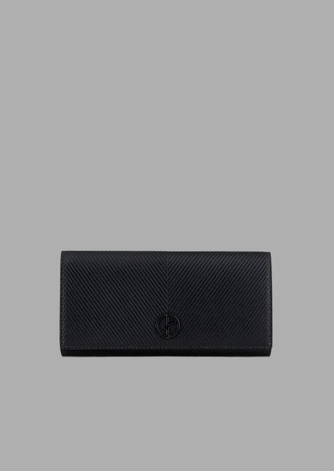 Chevron-embossed leather wallet with button and tonal logo