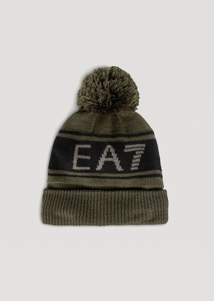 Bonnet en maille avec pompon et logo EA7 contrastant   Homme   Ea7 f76ce54327e