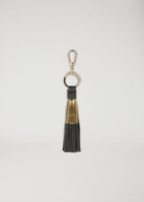 Tasselled leather keyring with metal detail