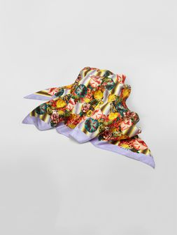 Marni Silk scarf with Ellebore print against striped background Woman