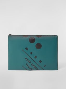 Marni Clutch in coated PVC green Man