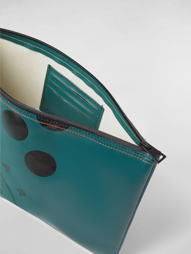 Marni Clutch in coated PVC green Man - 4
