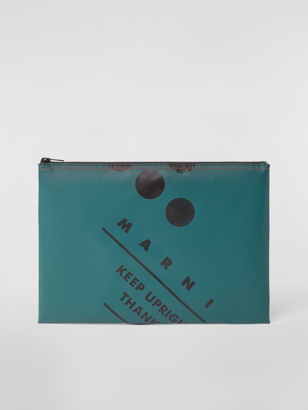 Marni Clutch in coated PVC green Man - 1