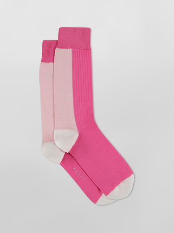 Marni Ribbed cotton sock with pink and fuchsia inlay Woman