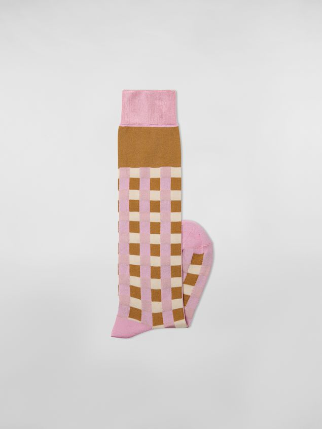 Marni Sock in pink and brown cotton gingham Woman - 2