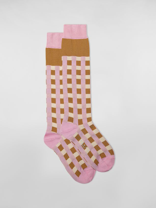 Marni Sock in pink and brown cotton gingham Woman - 1
