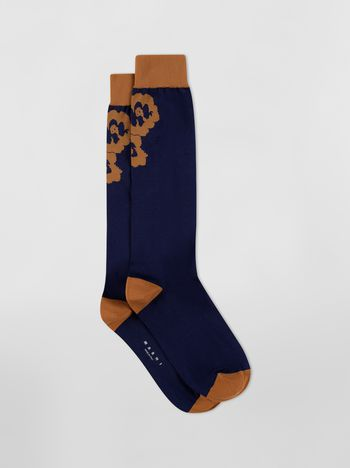 Marni Sock in blue and brown floral cotton  Woman