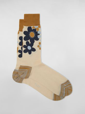 Marni Socks in cotton with floral motif light blue beige and mustard Man