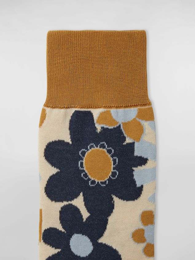 Marni Socks in cotton with floral motif light blue beige and mustard Man - 3