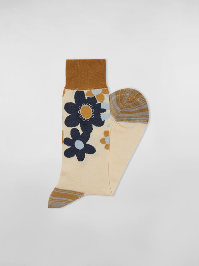 Marni Socks in cotton with floral motif light blue beige and mustard Man - 2
