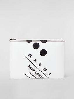 Marni Clutch in coated PVC white Man