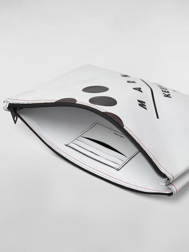 Marni Clutch in coated PVC white Man - 4