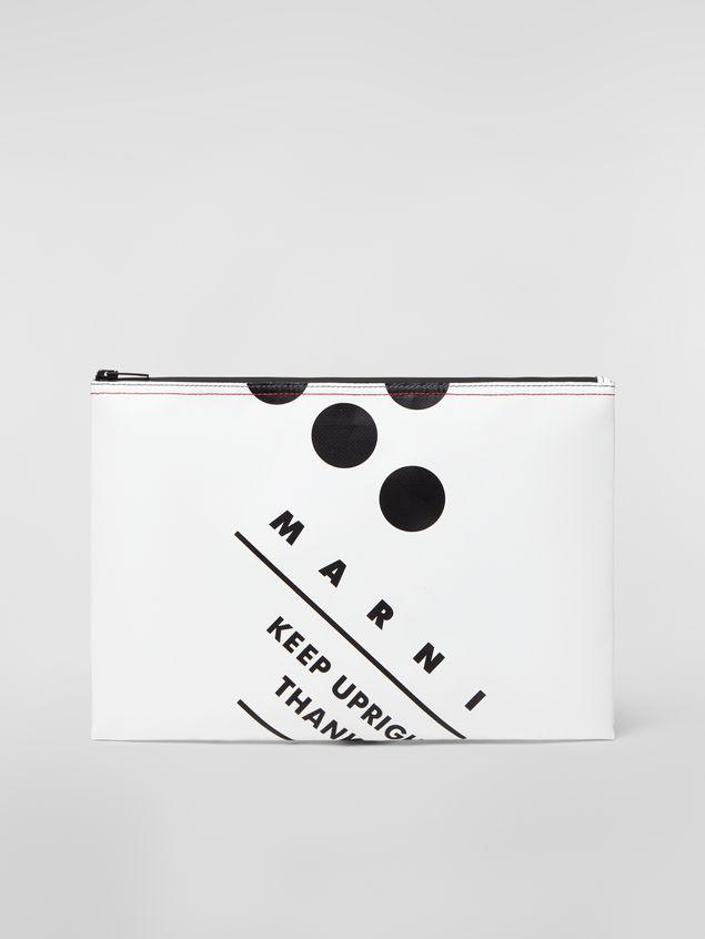 Marni Clutch in coated PVC white Man - 1