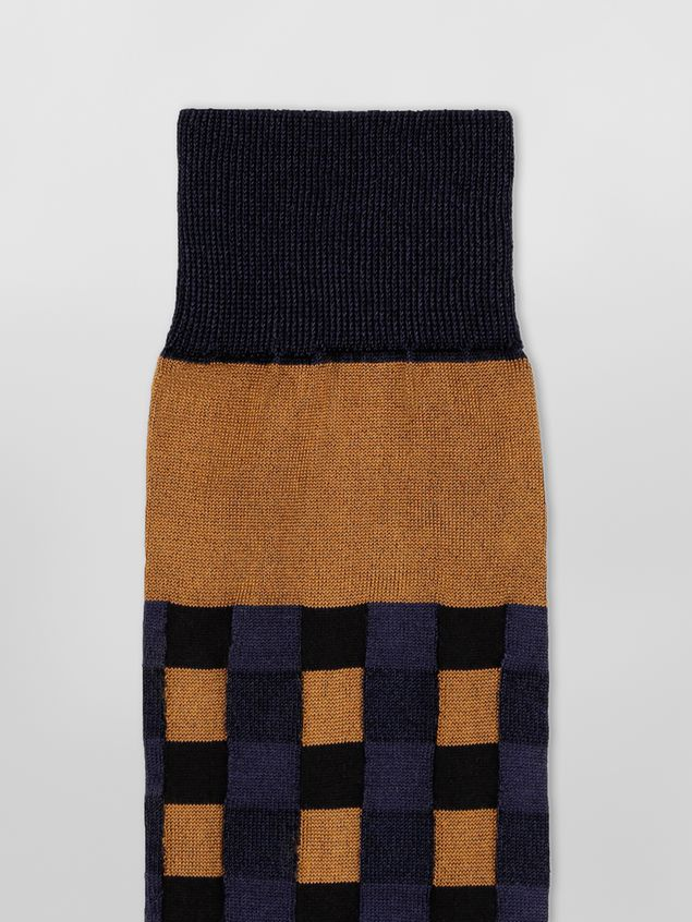 Marni Sock in brown and blue cotton gingham Woman - 3