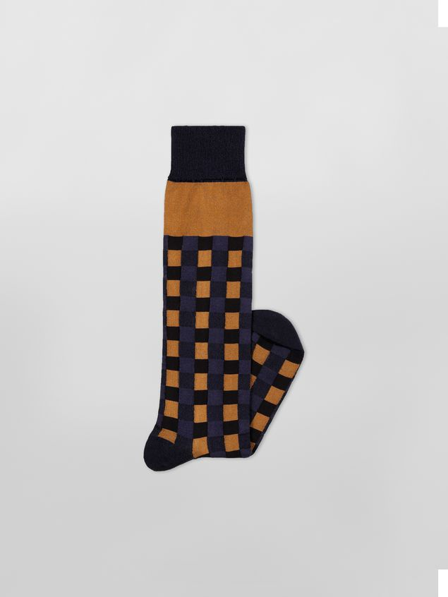 Marni Sock in brown and blue cotton gingham Woman - 2