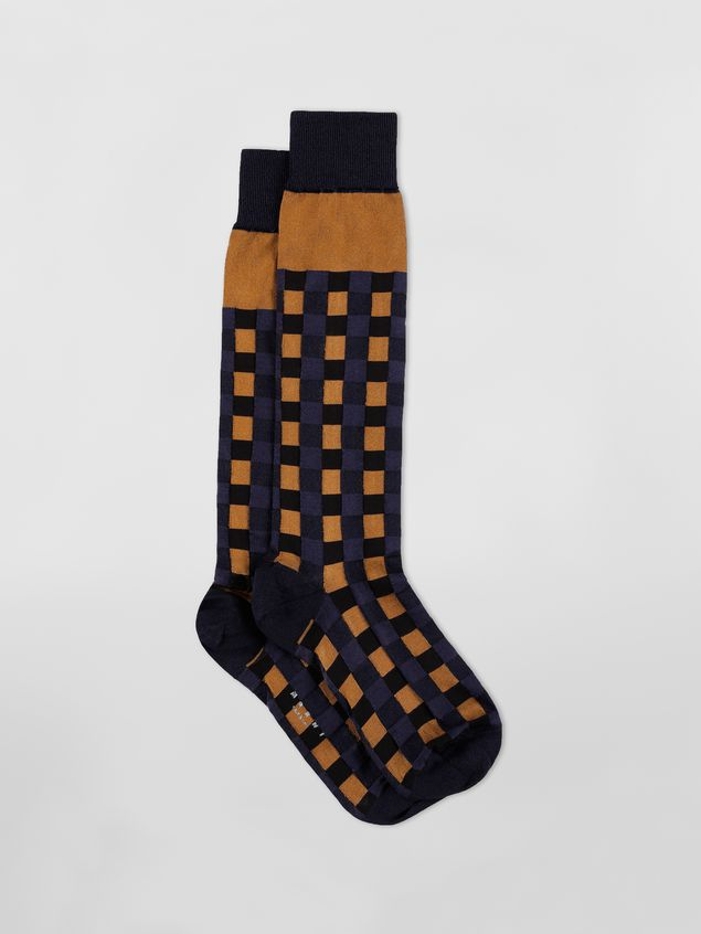 Marni Sock in brown and blue cotton gingham Woman - 1