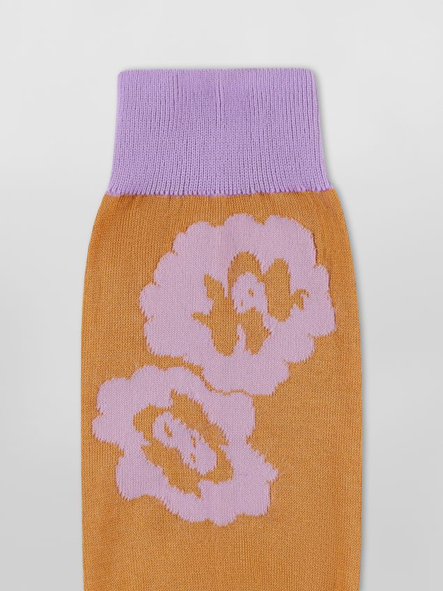 Marni Sock in lilac and brown floral cotton Woman - 3