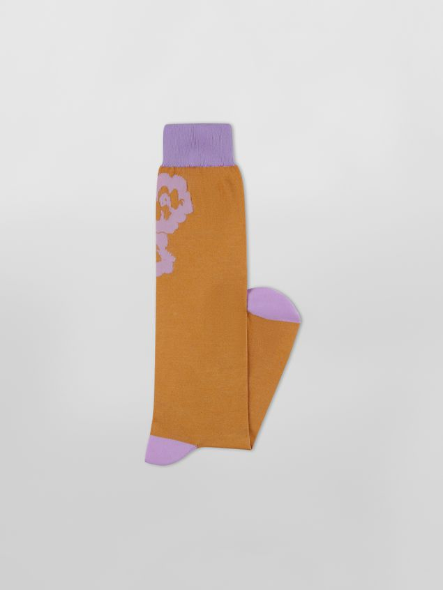 Marni Sock in lilac and brown floral cotton Woman - 2