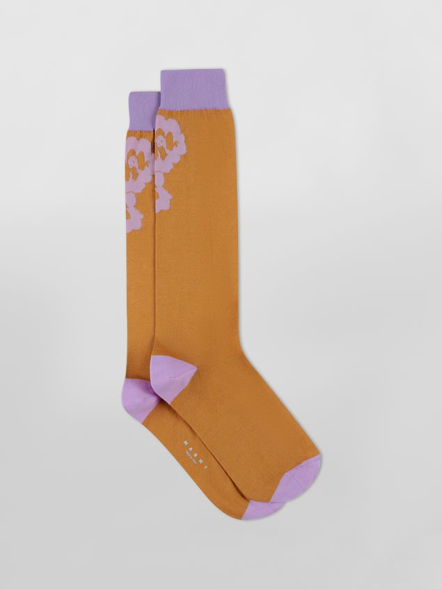 Marni Sock in lilac and brown floral cotton Woman - 1