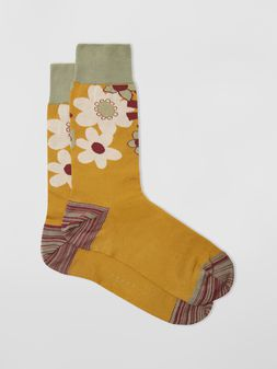 Marni Socks in cotton with floral motif violet mustard and green Man
