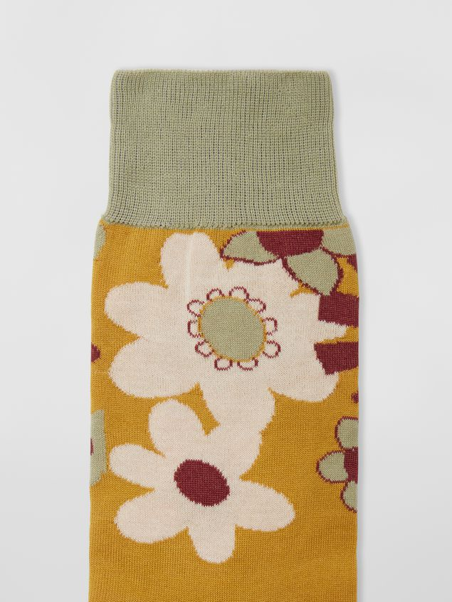 Marni Socks in cotton with floral motif violet mustard and green Man - 3