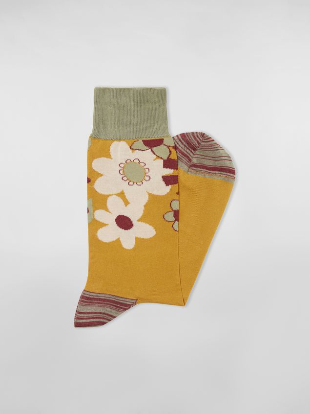 Marni Socks in cotton with floral motif violet mustard and green Man - 2