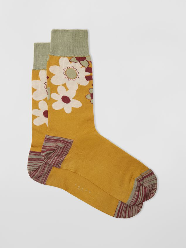 Marni Socks in cotton with floral motif violet mustard and green Man - 1