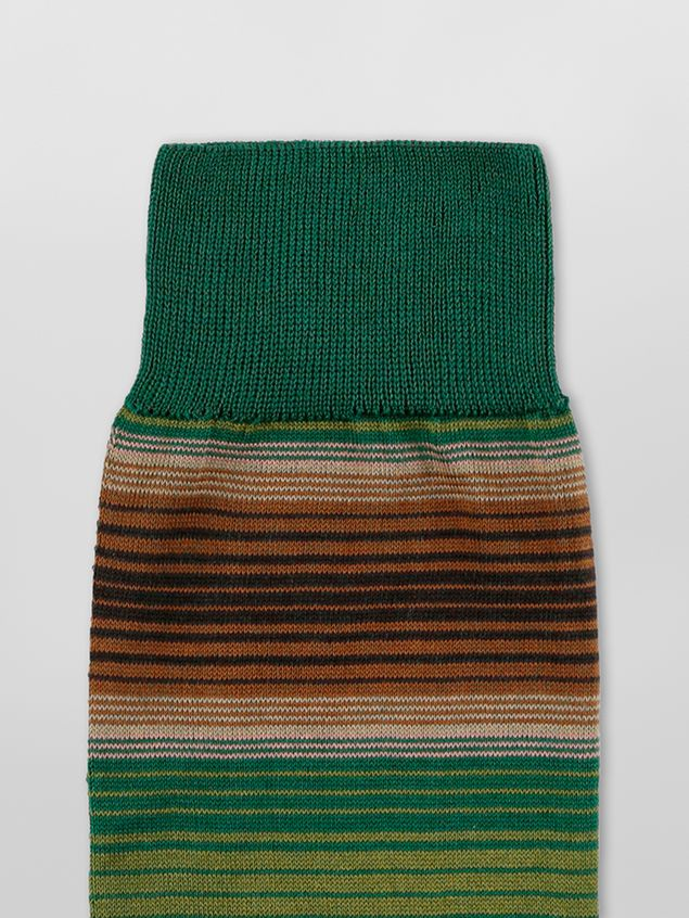 Marni Sock in green and brown striped cotton  Woman - 3