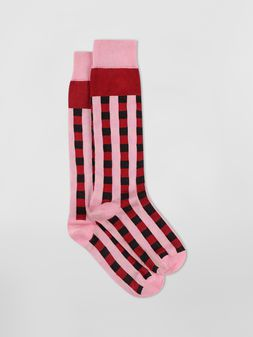 Marni Sock in pink and red cotton gingham Woman