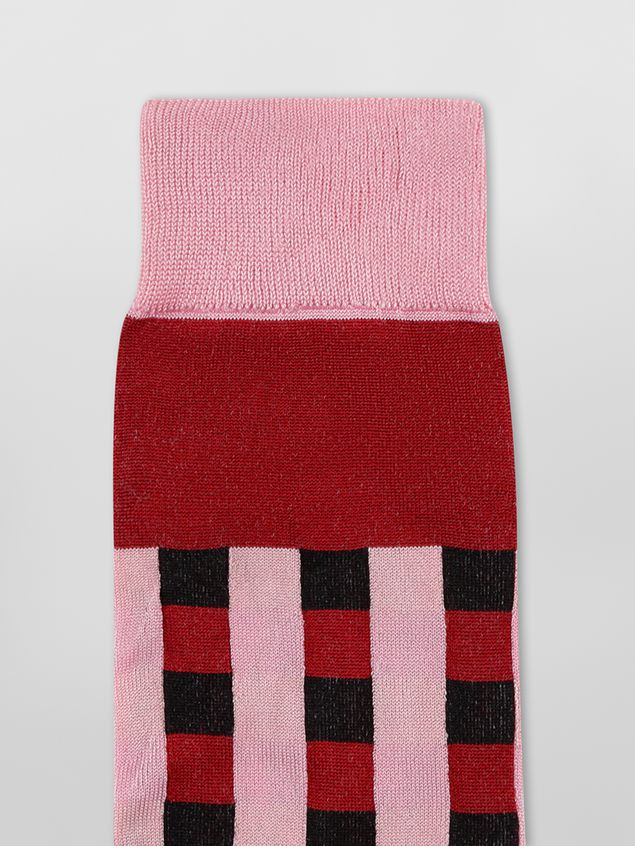 Marni Sock in pink and red cotton gingham Woman - 3