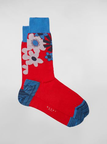 Marni Socks in cotton with floral motif red black and blue Man
