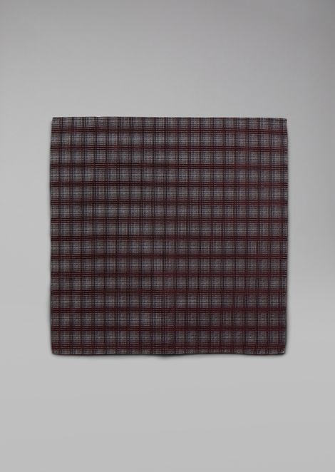 Pure silk pocket square with check pattern