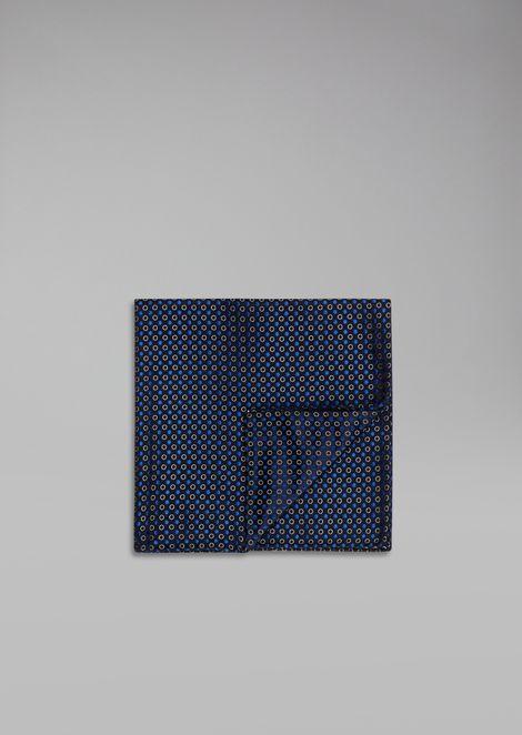 Polka-dot pure silk pocket square