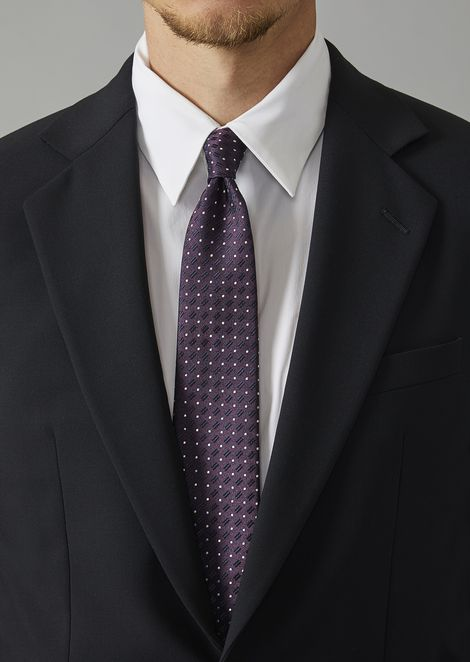 Pure silk tie with polka dot and hatched pattern