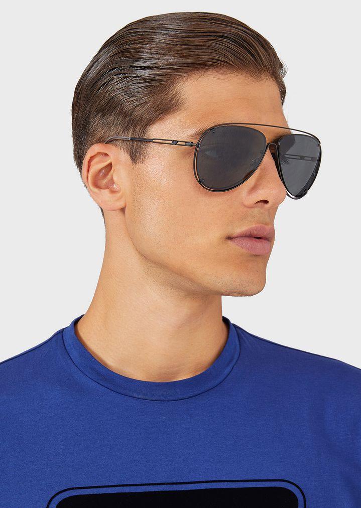 EMPORIO ARMANI Open Wire metal aviator sunglasses Sunglasses Man d