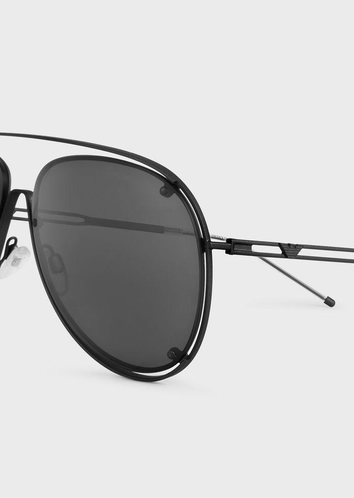 EMPORIO ARMANI Open Wire metal aviator sunglasses Sunglasses Man e