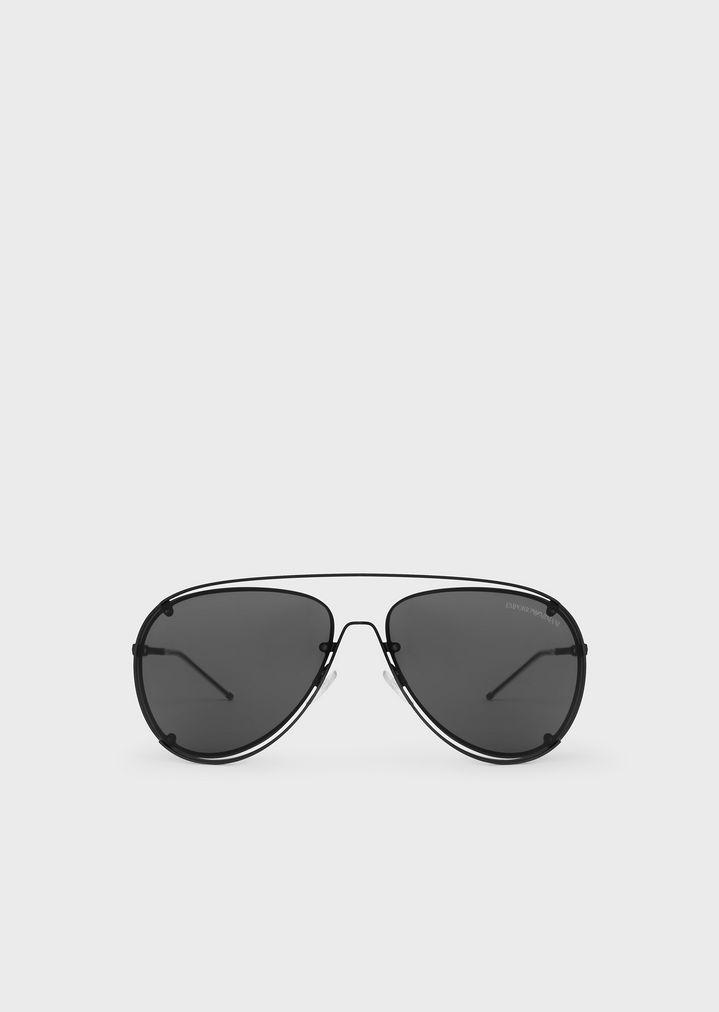 EMPORIO ARMANI Open Wire metal aviator sunglasses Sunglasses Man f