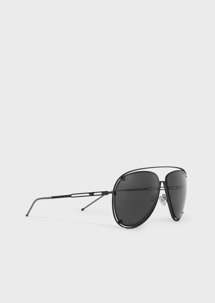 EMPORIO ARMANI Open Wire metal aviator sunglasses Sunglasses Man r