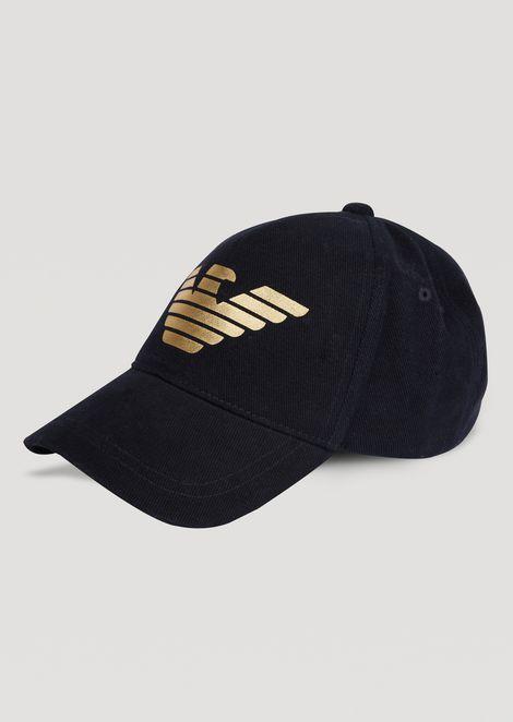 Velvet baseball cap with metallic logo