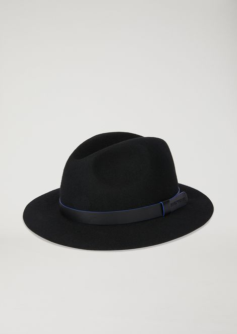83b4d3a8631 Wool fedora hat with leather lace