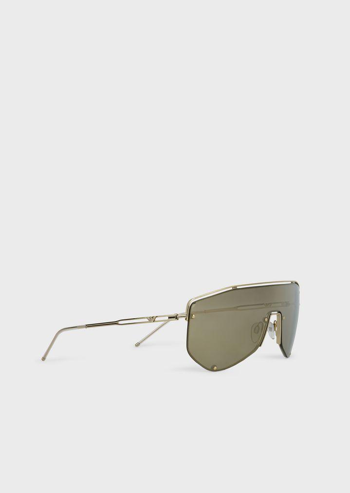 EMPORIO ARMANI Catwalk Man sunglasses with mask-style lenses Sunglasses Man r