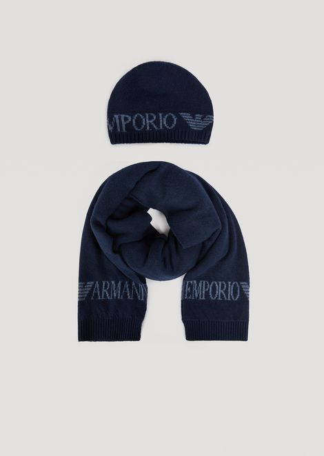 Matching knitted scarf and hat set with logo