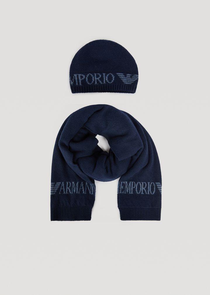 vente à bas prix choisir le plus récent belle couleur Ensemble bonnet et écharpe en maille avec logo | Homme ...