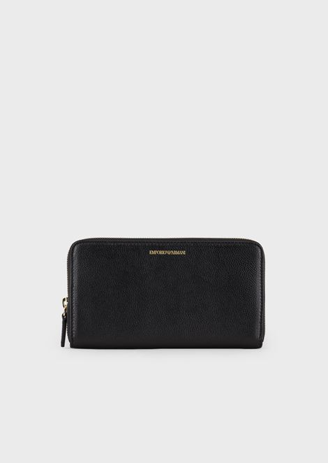 Leather, horizontal style wallet with zip