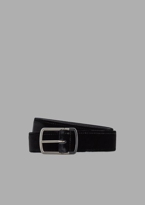 Velvet belt with metal tongue