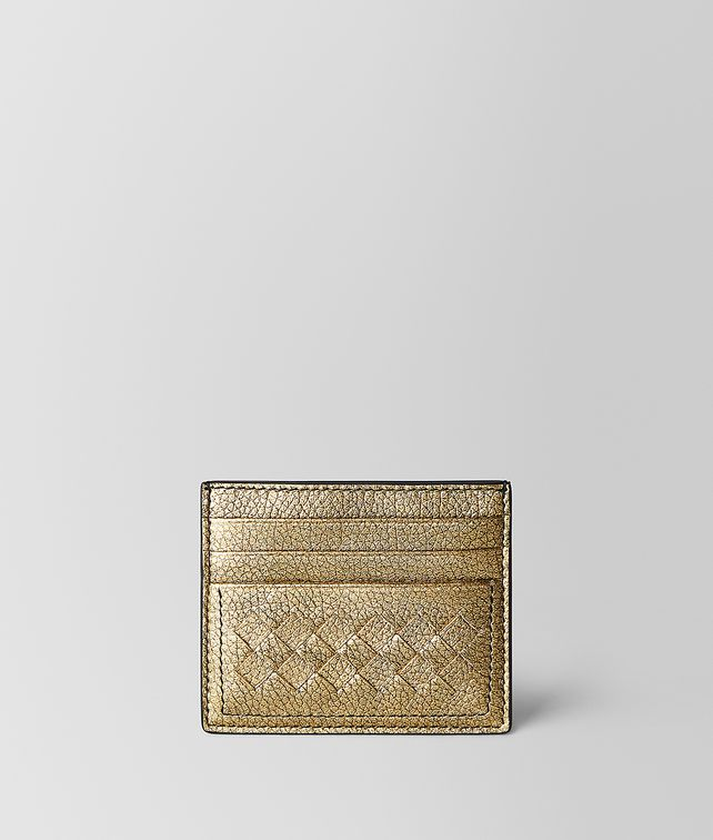 BOTTEGA VENETA CARD CASE IN METALLIC CALF LEATHER Card Case or Coin Purse E fp