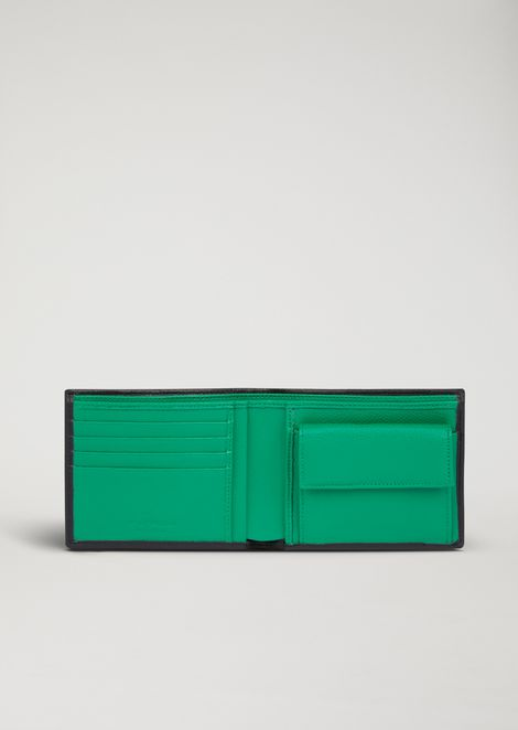 Wallet in printed boarded leather