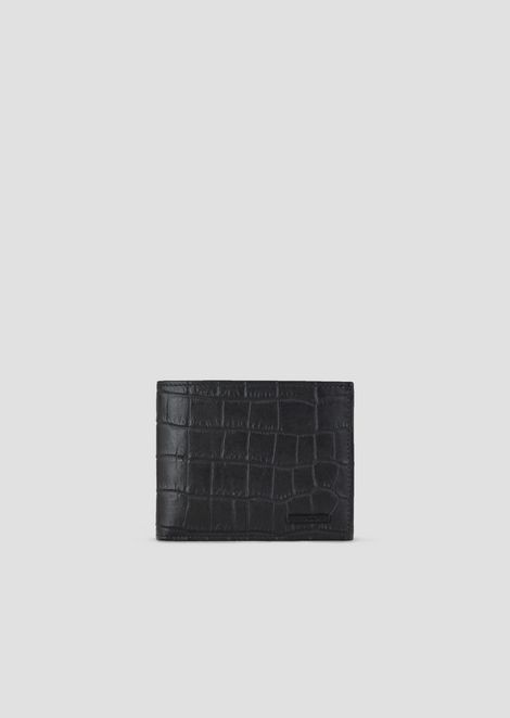 Croc-print leather bi-fold wallet